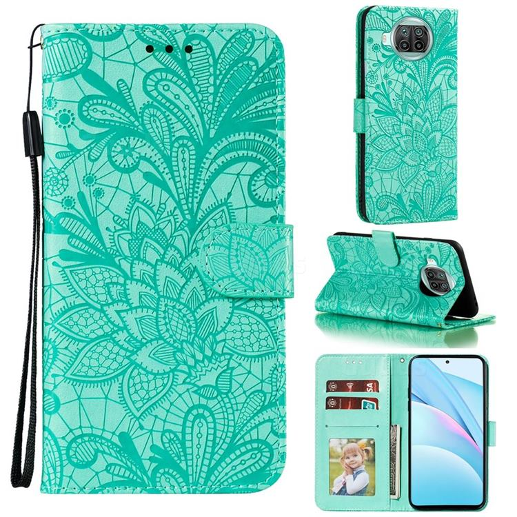 Intricate Embossing Lace Jasmine Flower Leather Wallet Case for Xiaomi Mi 10T Lite 5G - Green