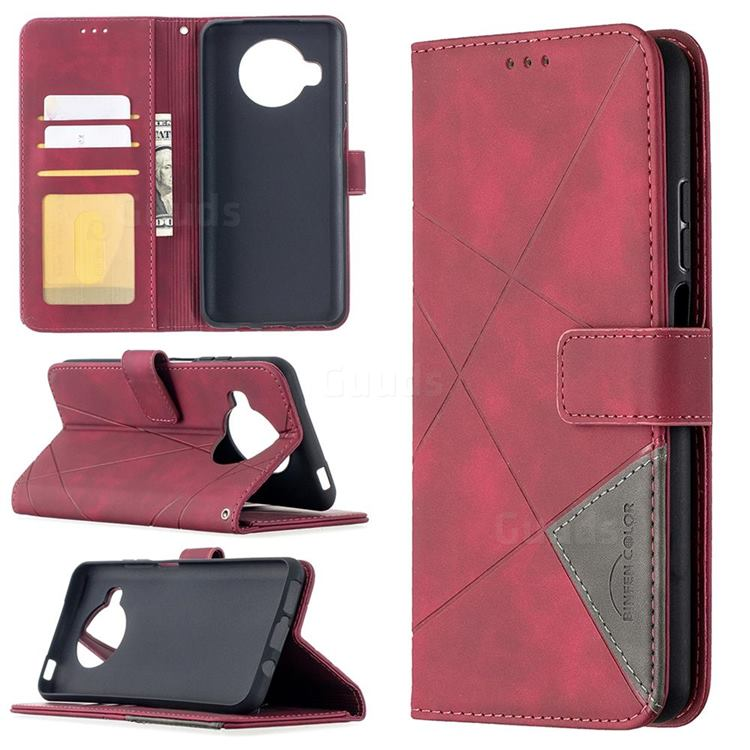 Binfen Color BF05 Prismatic Slim Wallet Flip Cover for Xiaomi Mi 10T Lite 5G - Red