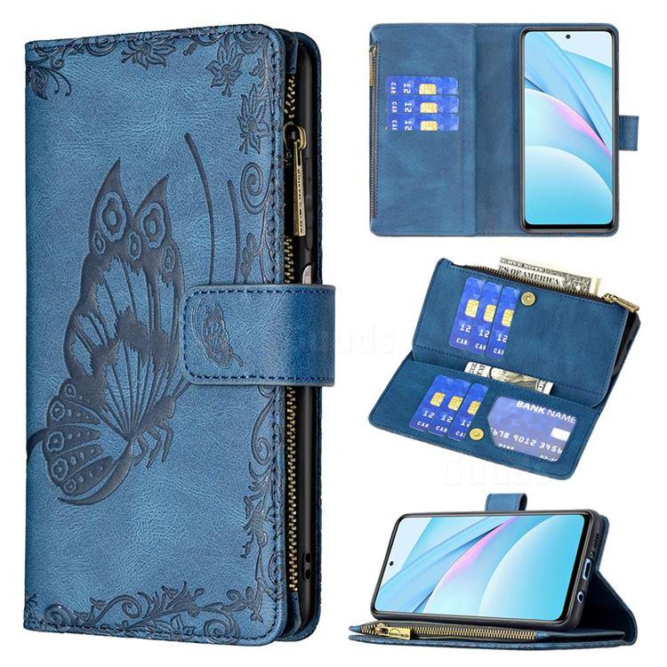 Binfen Color Imprint Vivid Butterfly Buckle Zipper Multi-function Leather Phone Wallet for Xiaomi Mi 10T Lite 5G - Blue