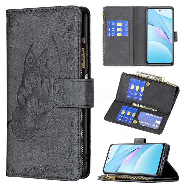 Binfen Color Imprint Vivid Butterfly Buckle Zipper Multi-function Leather Phone Wallet for Xiaomi Mi 10T Lite 5G - Black