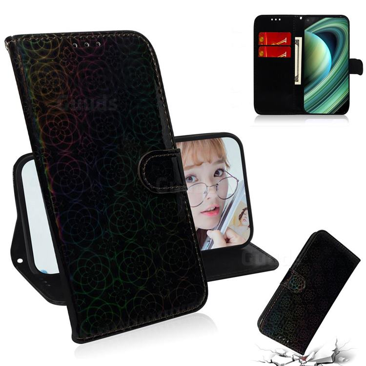 Laser Circle Shining Leather Wallet Phone Case for Xiaomi Mi 10 Ultra - Black