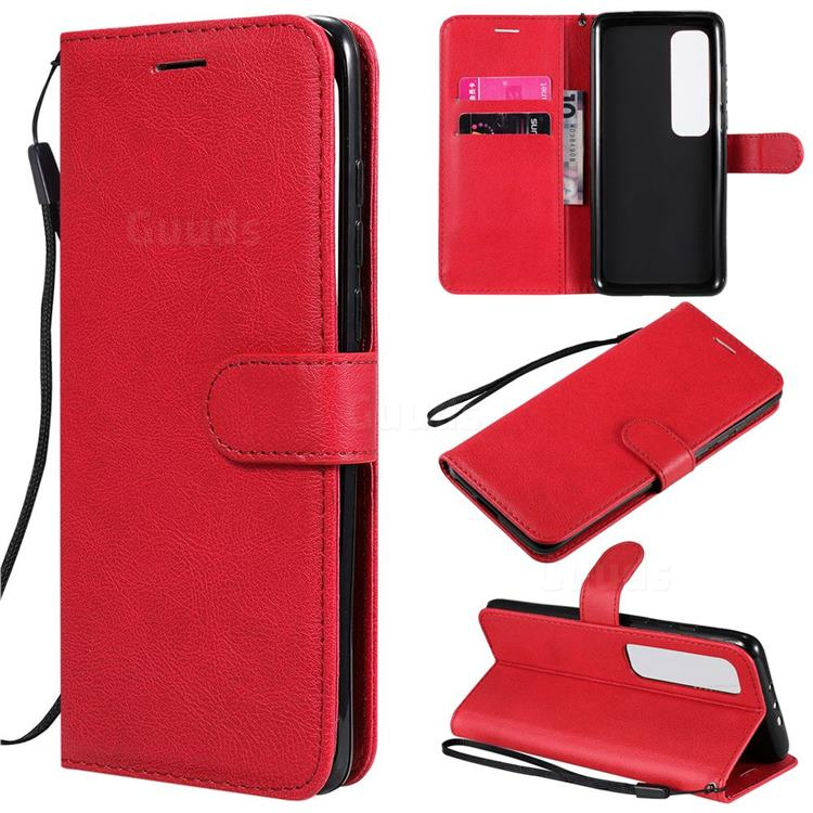 Retro Greek Classic Smooth PU Leather Wallet Phone Case for Xiaomi Mi 10 Ultra - Red