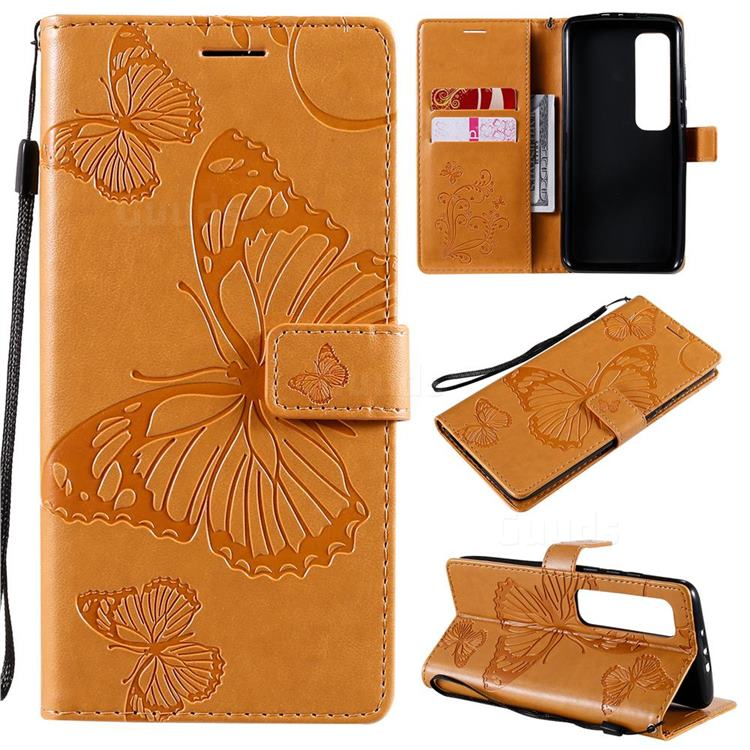 Embossing 3D Butterfly Leather Wallet Case for Xiaomi Mi 10 Ultra - Yellow