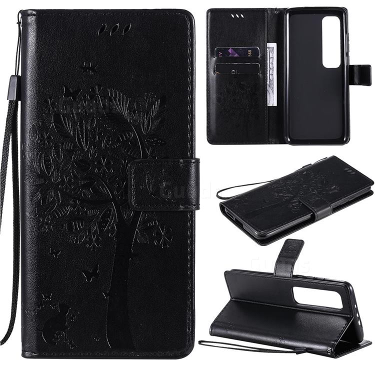 Embossing Butterfly Tree Leather Wallet Case for Xiaomi Mi 10 Ultra - Black