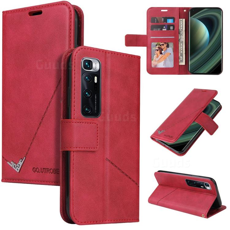 GQ.UTROBE Right Angle Silver Pendant Leather Wallet Phone Case for Xiaomi Mi 10 Ultra - Red