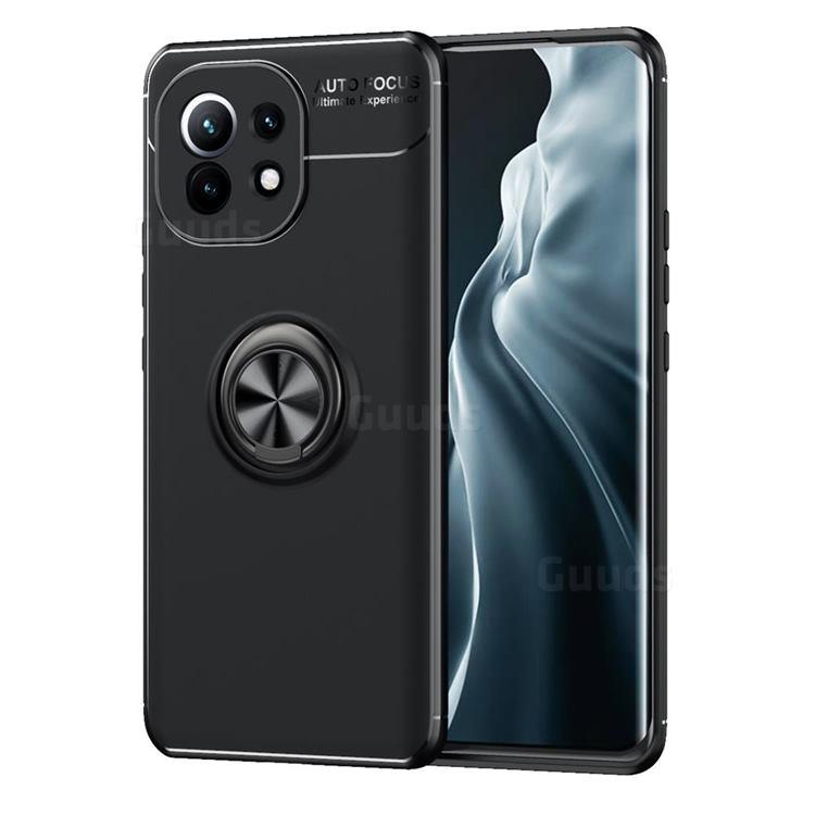 Auto Focus Invisible Ring Holder Soft Phone Case for Xiaomi Mi 11 - Black