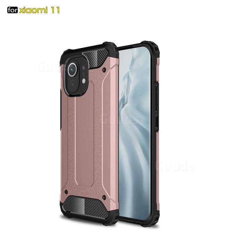 King Kong Armor Premium Shockproof Dual Layer Rugged Hard Cover for Xiaomi Mi 11 - Rose Gold