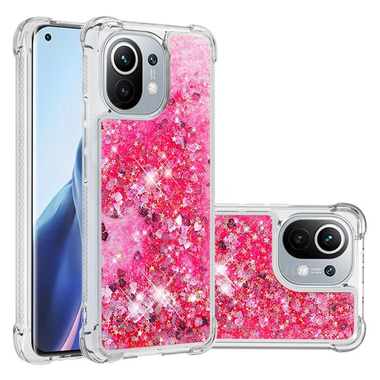 Dynamic Liquid Glitter Sand Quicksand TPU Case for Xiaomi Mi 11 - Pink Love Heart
