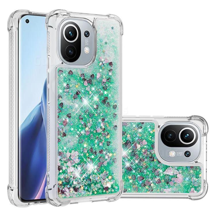 Dynamic Liquid Glitter Sand Quicksand TPU Case for Xiaomi Mi 11 - Green Love Heart