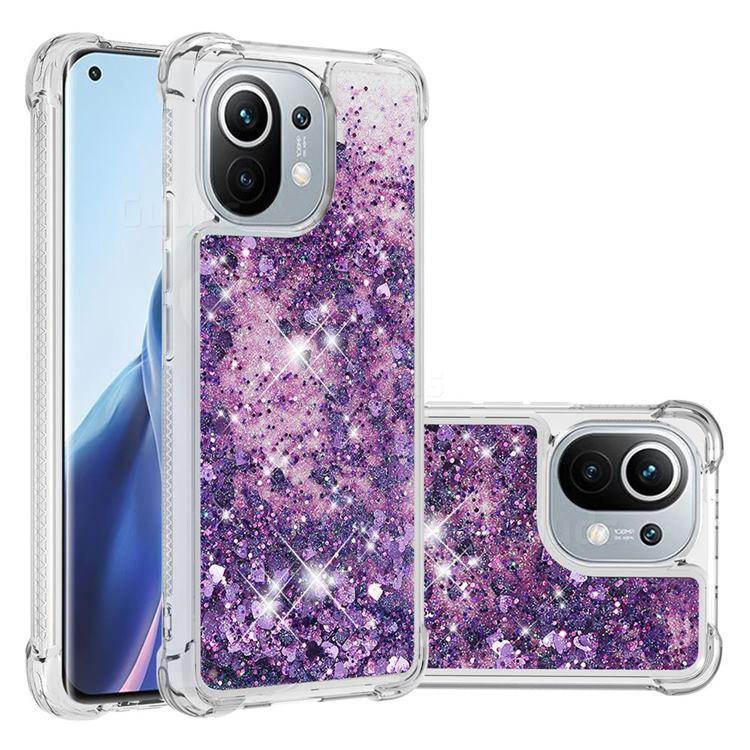 Dynamic Liquid Glitter Sand Quicksand Star TPU Case for Xiaomi Mi 11 - Purple