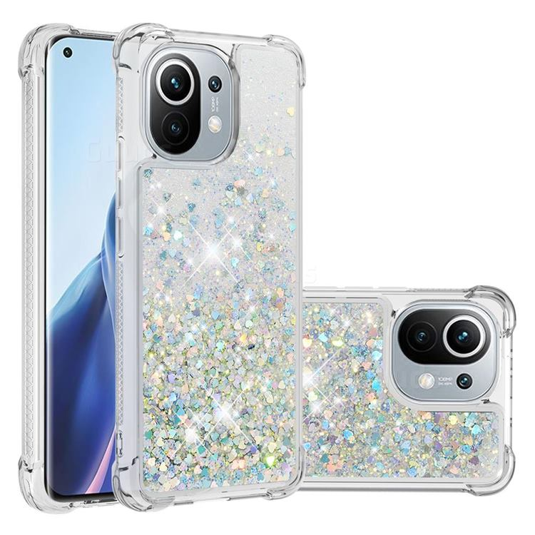 Dynamic Liquid Glitter Sand Quicksand Star TPU Case for Xiaomi Mi 11 - Silver