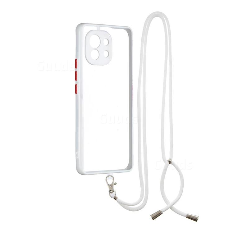 Necklace Cross-body Lanyard Strap Cord Phone Case Cover for Xiaomi Mi 11 - White