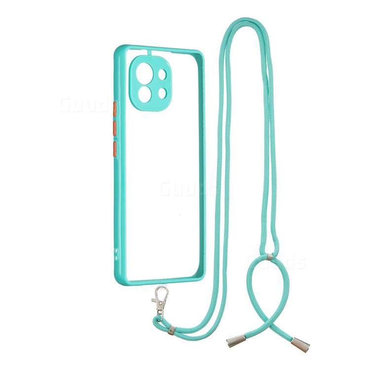 Necklace Cross-body Lanyard Strap Cord Phone Case Cover for Xiaomi Mi 11 - Blue