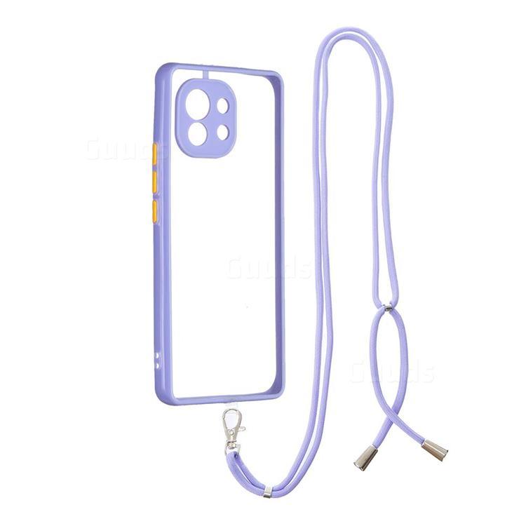 Necklace Cross-body Lanyard Strap Cord Phone Case Cover for Xiaomi Mi 11 - Purple