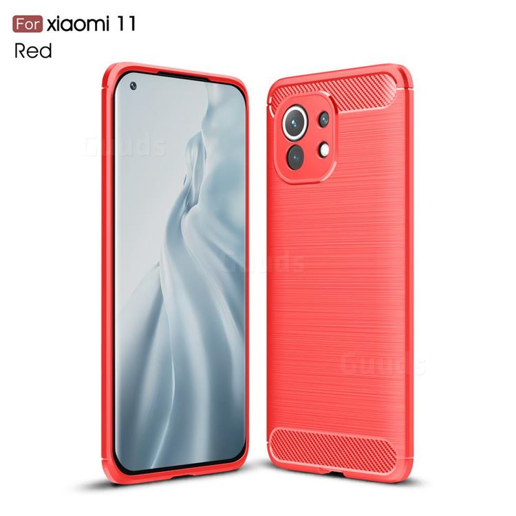 Luxury Carbon Fiber Brushed Wire Drawing Silicone TPU Back Cover for Xiaomi Mi 11 - Red