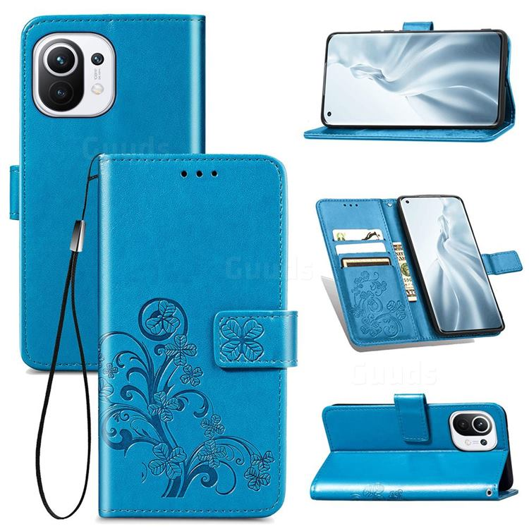 Embossing Imprint Four-Leaf Clover Leather Wallet Case for Xiaomi Mi 11 - Blue