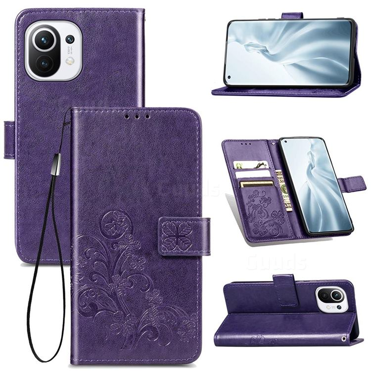Embossing Imprint Four-Leaf Clover Leather Wallet Case for Xiaomi Mi 11 - Purple