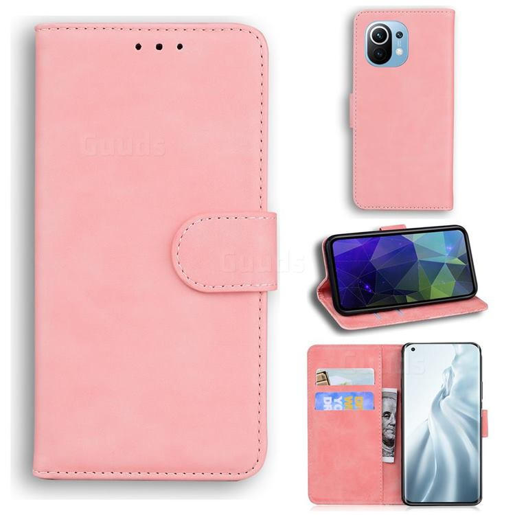 Retro Classic Skin Feel Leather Wallet Phone Case for Xiaomi Mi 11 - Pink