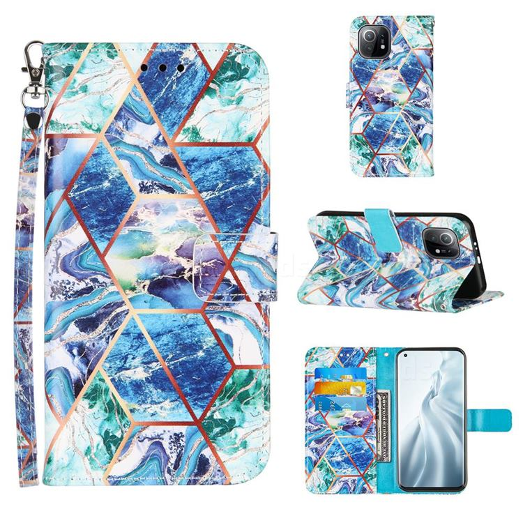 Green and Blue Stitching Color Marble Leather Wallet Case for Xiaomi Mi 11