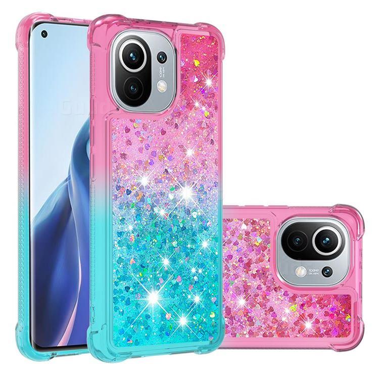 Rainbow Gradient Liquid Glitter Quicksand Sequins Phone Case for Xiaomi Mi 11 - Pink Blue