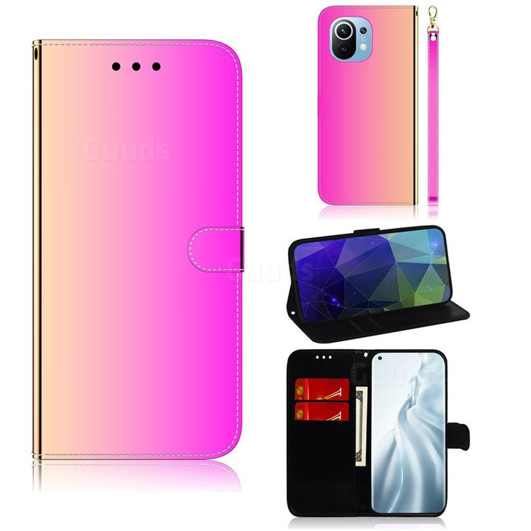 Shining Mirror Like Surface Leather Wallet Case for Xiaomi Mi 11 - Rainbow Gradient