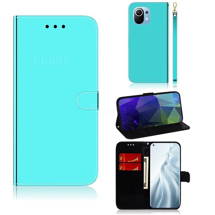 Shining Mirror Like Surface Leather Wallet Case for Xiaomi Mi 11 - Mint Green