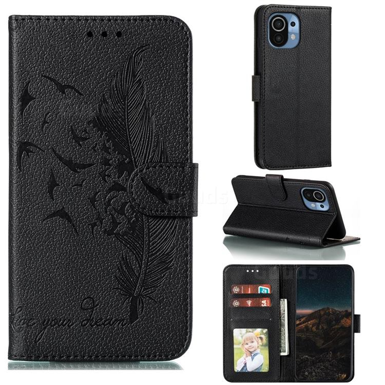 Intricate Embossing Lychee Feather Bird Leather Wallet Case for Xiaomi Mi 11 - Black