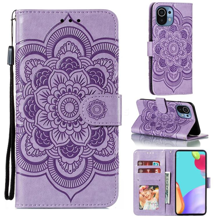 Intricate Embossing Datura Solar Leather Wallet Case for Xiaomi Mi 11 - Purple