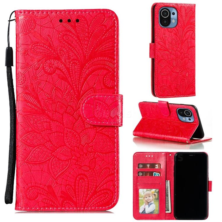 Intricate Embossing Lace Jasmine Flower Leather Wallet Case for Xiaomi Mi 11 - Red