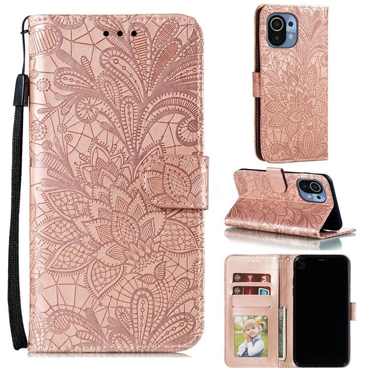 Intricate Embossing Lace Jasmine Flower Leather Wallet Case for Xiaomi Mi 11 - Rose Gold