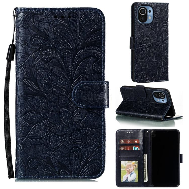Intricate Embossing Lace Jasmine Flower Leather Wallet Case for Xiaomi Mi 11 - Dark Blue