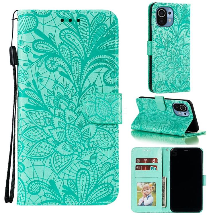 Intricate Embossing Lace Jasmine Flower Leather Wallet Case for Xiaomi Mi 11 - Green