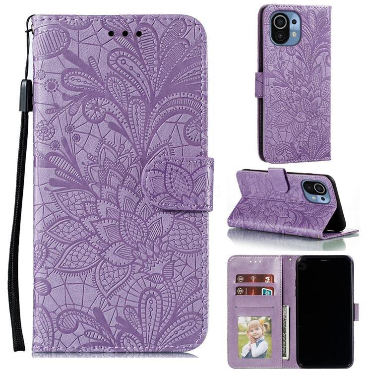 Intricate Embossing Lace Jasmine Flower Leather Wallet Case for Xiaomi Mi 11 - Purple