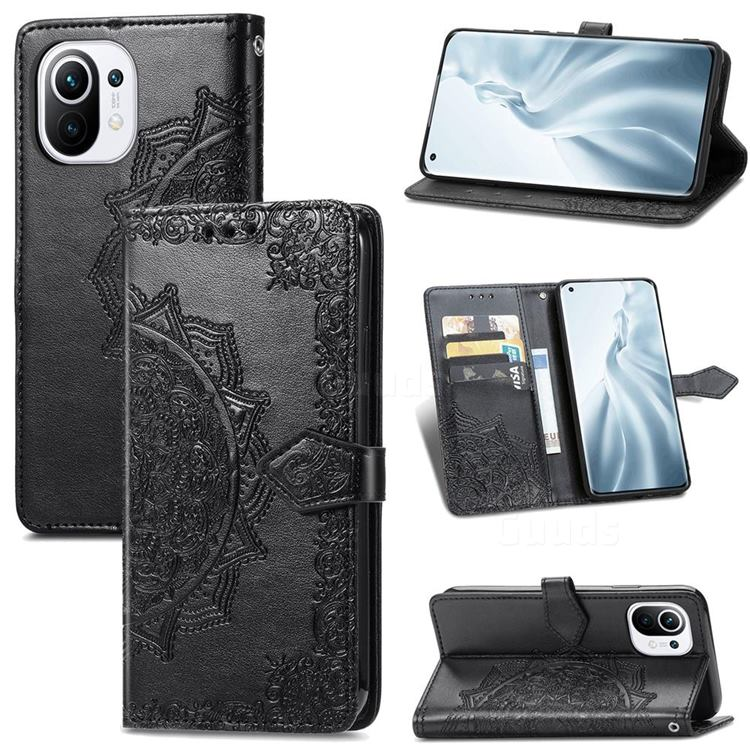 Embossing Imprint Mandala Flower Leather Wallet Case for Xiaomi Mi 11 - Black