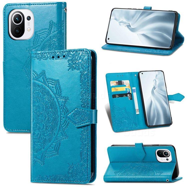 Embossing Imprint Mandala Flower Leather Wallet Case for Xiaomi Mi 11 - Blue