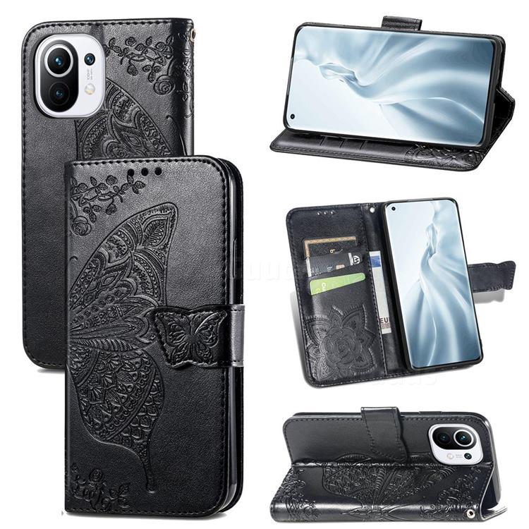 Embossing Mandala Flower Butterfly Leather Wallet Case for Xiaomi Mi 11 - Black
