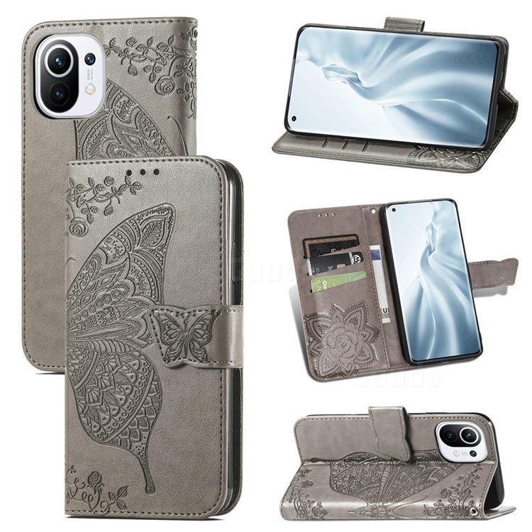 Embossing Mandala Flower Butterfly Leather Wallet Case for Xiaomi Mi 11 - Gray