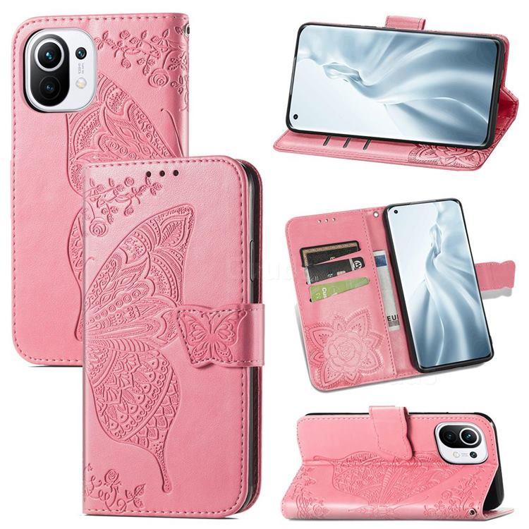 Embossing Mandala Flower Butterfly Leather Wallet Case for Xiaomi Mi 11 - Pink