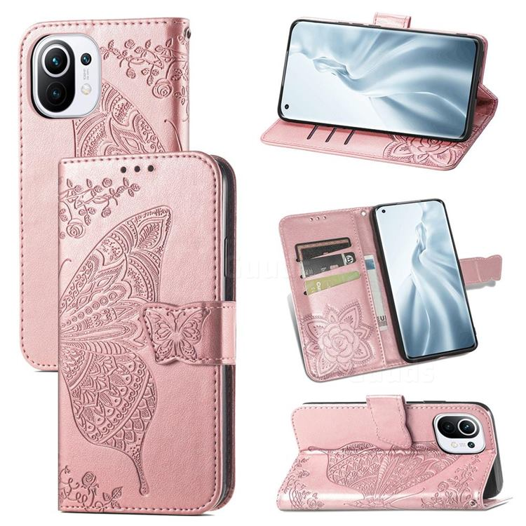 Embossing Mandala Flower Butterfly Leather Wallet Case for Xiaomi Mi 11 - Rose Gold