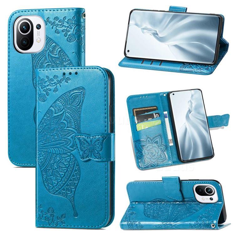 Embossing Mandala Flower Butterfly Leather Wallet Case for Xiaomi Mi 11 - Blue