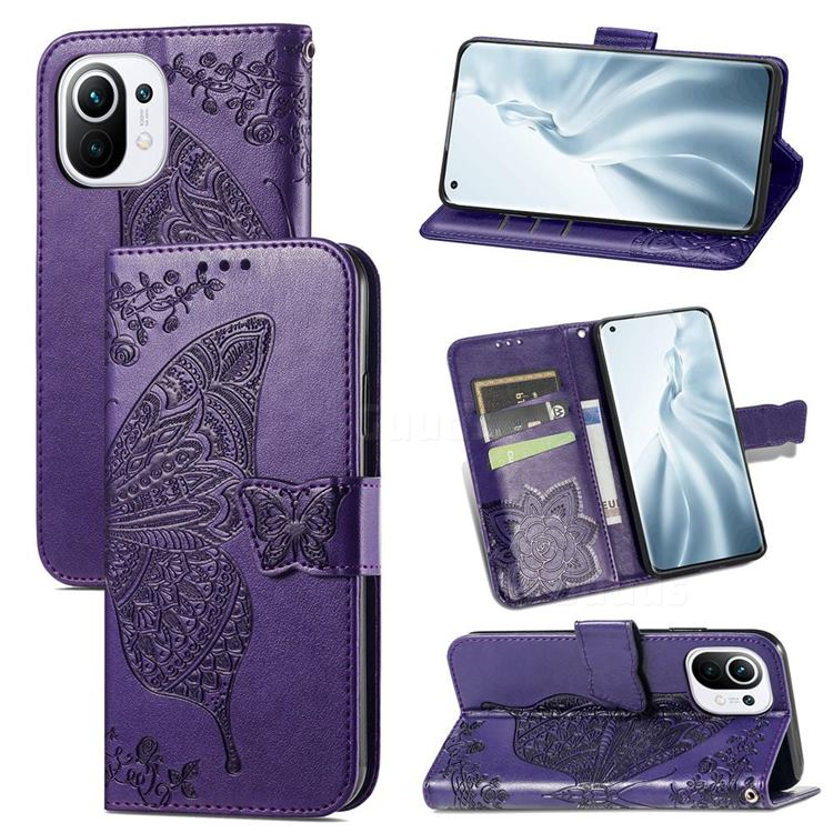 Embossing Mandala Flower Butterfly Leather Wallet Case for Xiaomi Mi 11 - Dark Purple