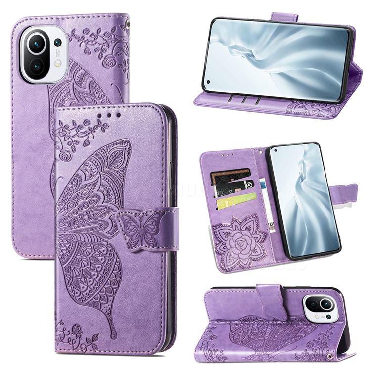 Embossing Mandala Flower Butterfly Leather Wallet Case for Xiaomi Mi 11 - Light Purple