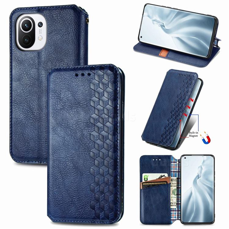 Ultra Slim Fashion Business Card Magnetic Automatic Suction Leather Flip Cover for Xiaomi Mi 11 - Dark Blue