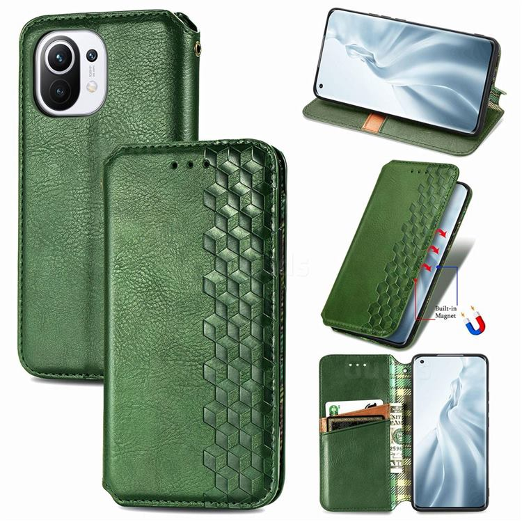 Ultra Slim Fashion Business Card Magnetic Automatic Suction Leather Flip Cover for Xiaomi Mi 11 - Green