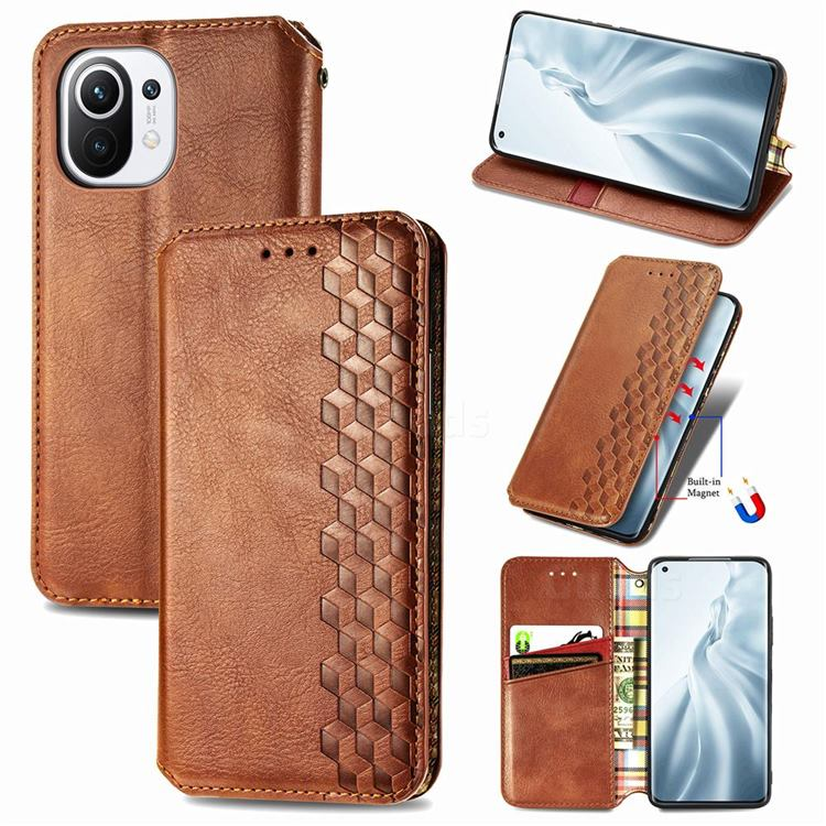 Ultra Slim Fashion Business Card Magnetic Automatic Suction Leather Flip Cover for Xiaomi Mi 11 - Brown