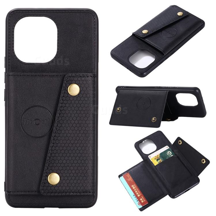 Retro Multifunction Card Slots Stand Leather Coated Phone Back Cover for Xiaomi Mi 11 - Black