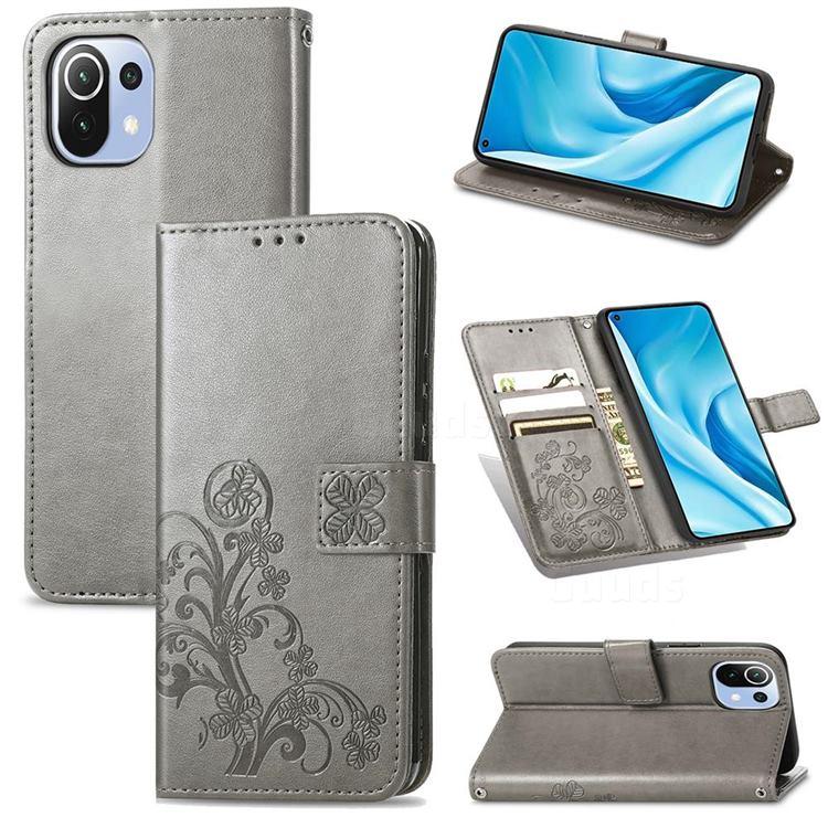 Embossing Imprint Four-Leaf Clover Leather Wallet Case for Xiaomi Mi 11 Lite - Grey