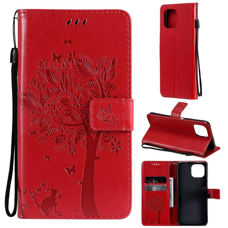 Embossing Butterfly Tree Leather Wallet Case for Xiaomi Mi 11 Lite - Red