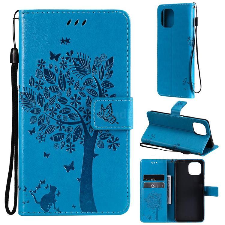 Embossing Butterfly Tree Leather Wallet Case for Xiaomi Mi 11 Lite - Blue