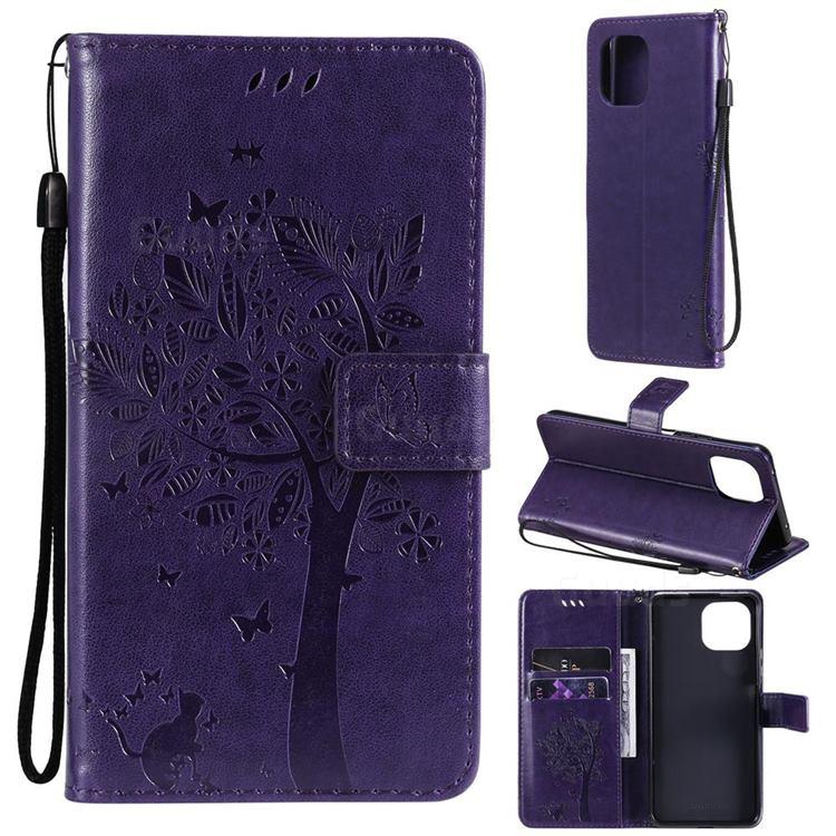 Embossing Butterfly Tree Leather Wallet Case for Xiaomi Mi 11 Lite - Purple